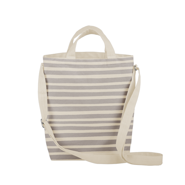 cute natural canvas tote bag with gray stripes and adjustable straps
