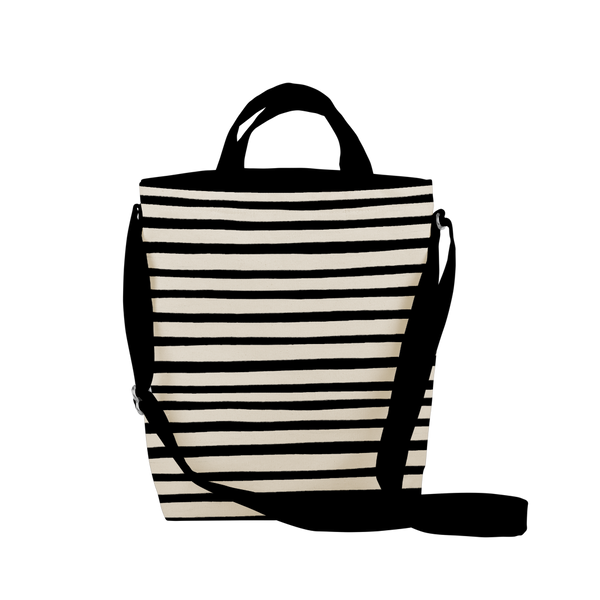 cute tote bag with black canvas, stripes, and adjustable straps