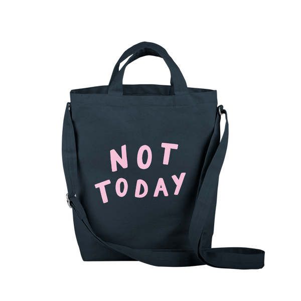 navy canvas tote with not today print and adjustable straps