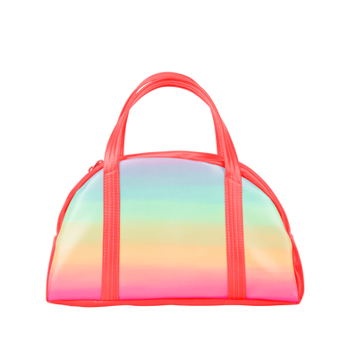 Cute tote bag in rainbow ombre with coral hand straps.