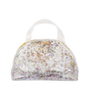 Small clear vinyl handbag with rainbow glitter confetti and gold zipper.