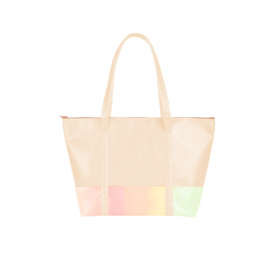 Cute travel bag in peach with pastel rainbow detail and zippered top.