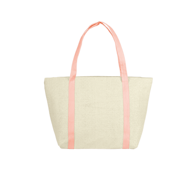 Cute straw weekender tote bag with peach colored canvas straps.
