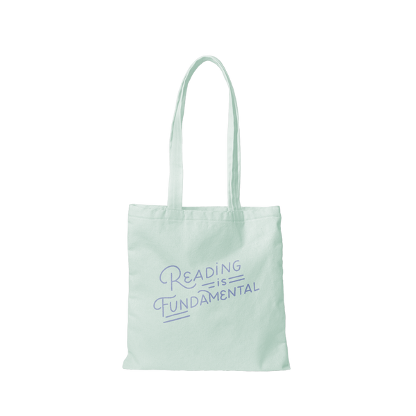 Cute canvas tote bag in light blue with blue Reading is Fundamental lettering design.