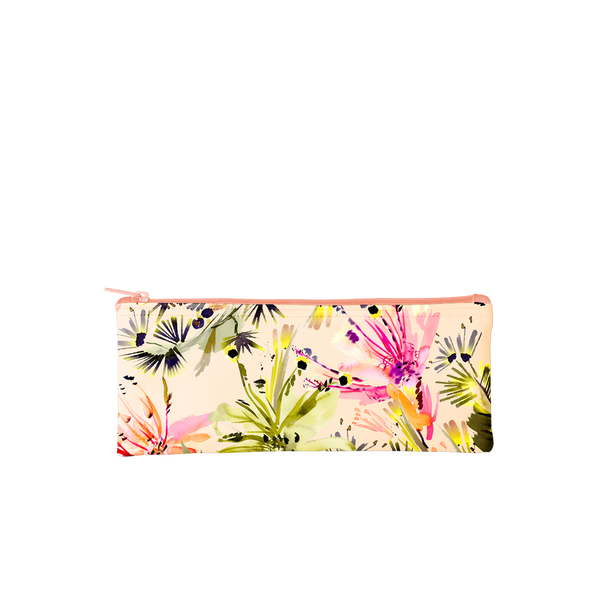 This cute pencil pouch features a tropical flora pattern in and peach background.