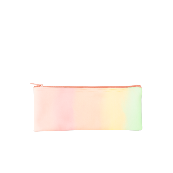 This cute pencil pouch has a pastel rainbow gradient and a peach zipper.