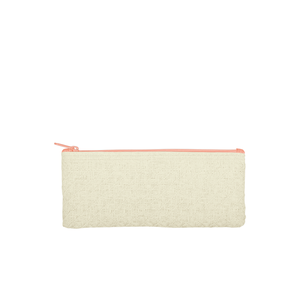 This cute pencil pouch is made of natural straw material with a coral zipper.