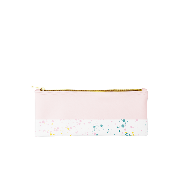 Cute pencil pouch in blush pink with white paint splatter trim.