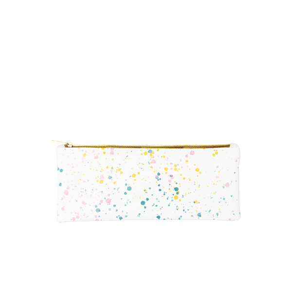 Cute pencil pouch in paint splatter print and a gold zippered top.