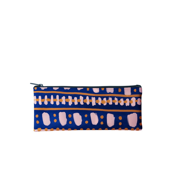 This pencil pouch is navy blue with a boho pattern in vegan leather.