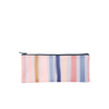 This pencil pouch has multi colored stripes and a navy blue zipper.