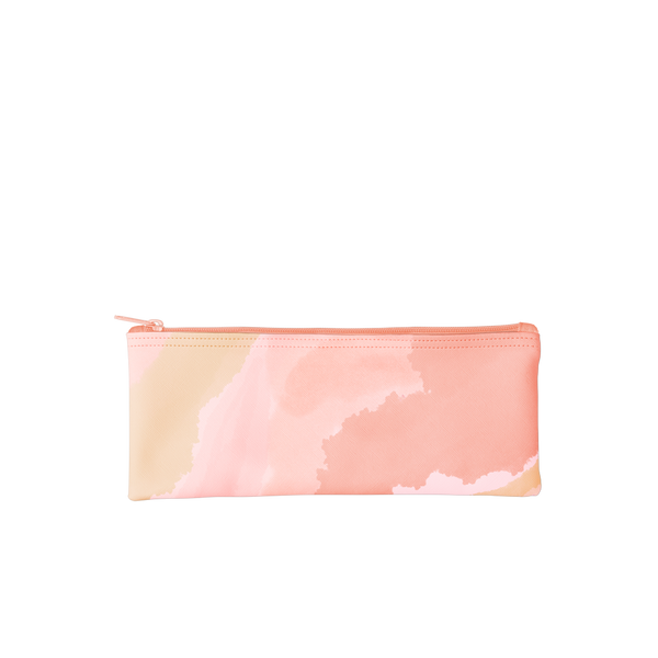 This pencil pouch features a pink and peach cloud pattern.