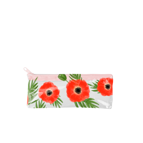 This cute pencil pouch is crafted from clear vinyl with red poppies pattern.