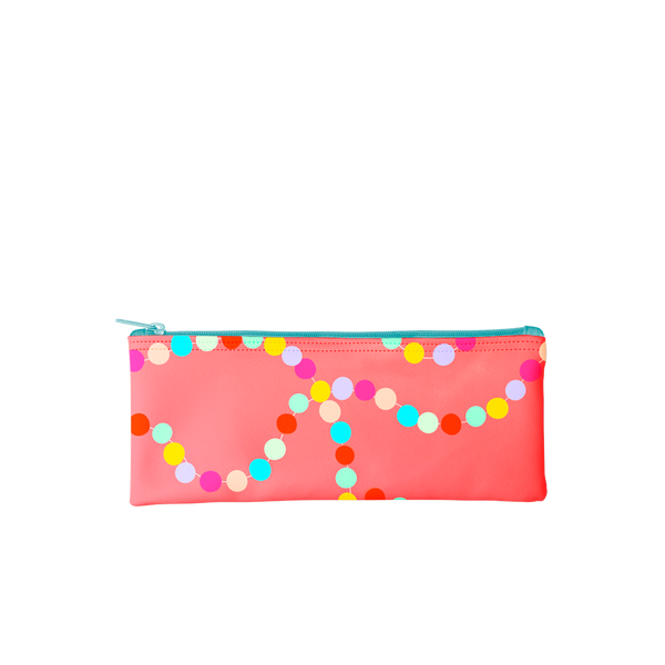 Cute pencil pouch in red with rainbow polka dots and a turquoise zipper.