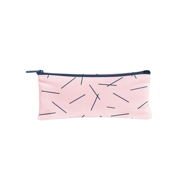 Canvas Pencil Pouch in blush pink with navy pixie sticks and a navy zipper.