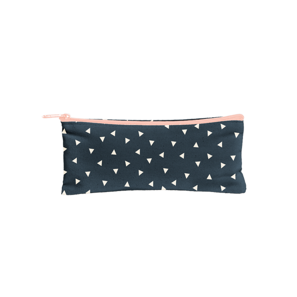 Canvas Pencil Pouch in navy with white triangles and peach zipper.