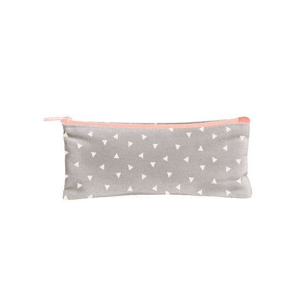 Canvas Pencil Pouch in gray with white triangles and a peach zipper.