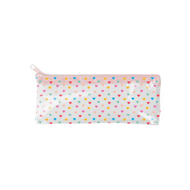 Tiny Hearts Vinyl Pixie Pouch is a clear pencil pouch with rainbow hearts pattern and a pink zipper.