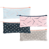 Canvas Pencil Pouch in blush pink with navy pixie sticks, gray with white triangles, navy with white triangles and beach wash denim with peach pixie sticks.