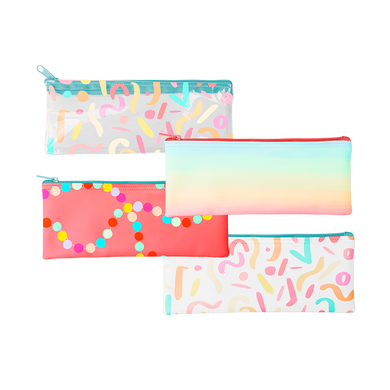 The pixie pouch is a cute pencil pouch in Meltdown, Party Animal, Sugar rush, and clear vinyl Party Animal.