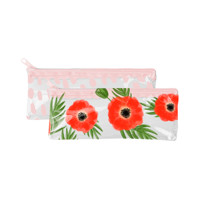 Pixie Pouch in clear vinyl with Poppies print and in pink Cuties print.