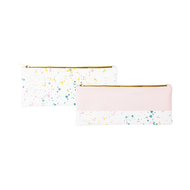 Two cute pencil pouches; one blush pink and one white with paint splatter print and gold zippered top.