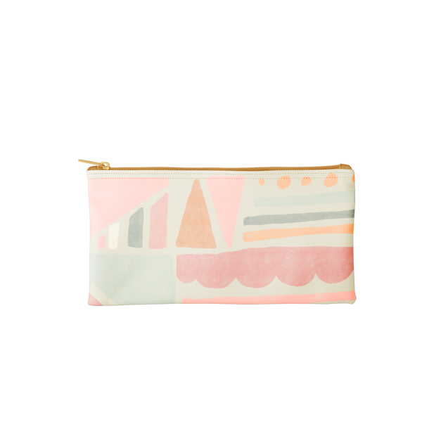 Mutey Fruity All the Things is a cute pencil pouch with a geometric pattern.