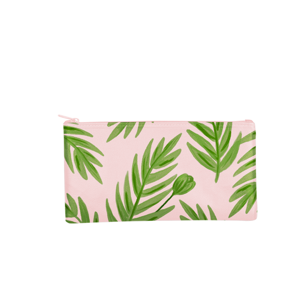 This large pencil pouch is crafted from pink vegan leather with a green leaf print.