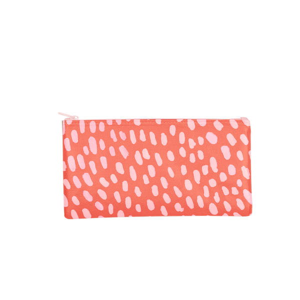 This large pencil pouch is made of vegan leather in a red and pink dots pattern.