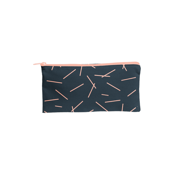 Large pencil pouch in navy blue canvas with peach pixie sticks pattern.