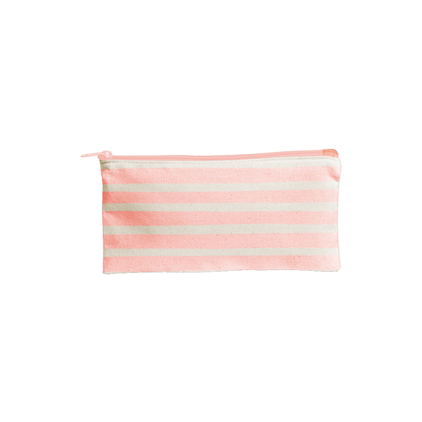 Large pencil pouch in natural canvas material with peach stripes.