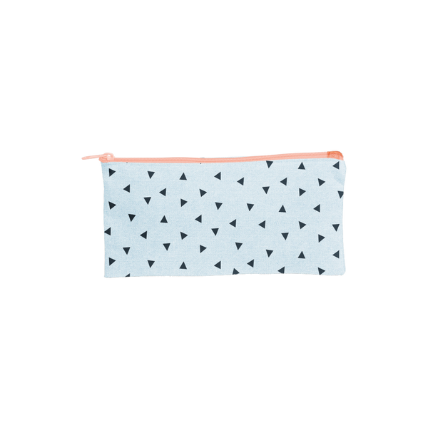 Large pencil pouch in beachwash denim with navy triangles and a peach zipper.
