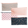 All the Things Pouch is a cute pencil pouch in canvas in navy blue, peach stripes, pink with triangles, and light gray.