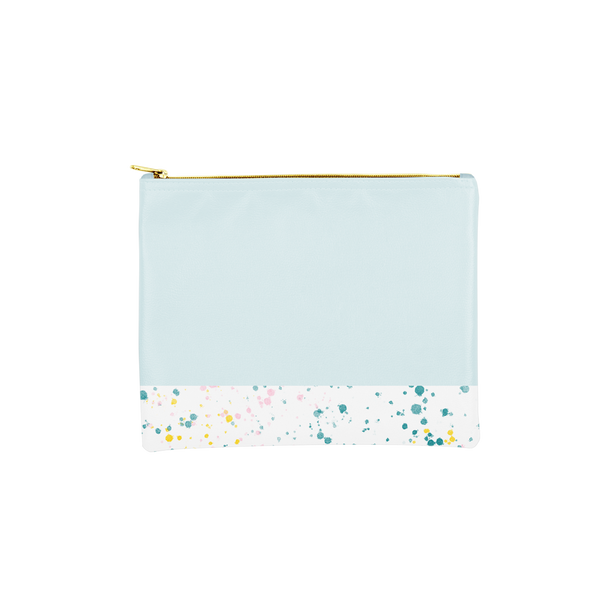 Large makeup pouch in powder blue with a white paint splatter print trim along the bottom.