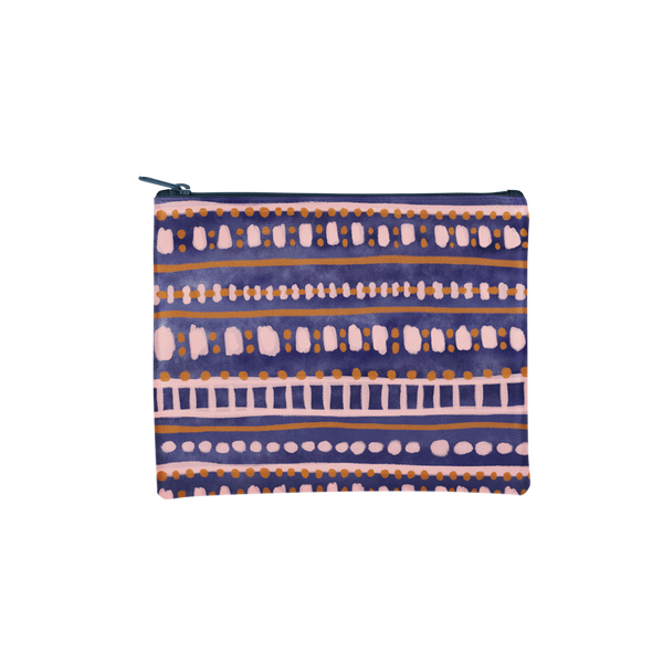 Dollface Pouch is a large pencil pouch in an abstract navy and blush boho pattern.