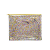 Large cosmetics pouch in clear vinyl with glitter confetti and a gold zipper.