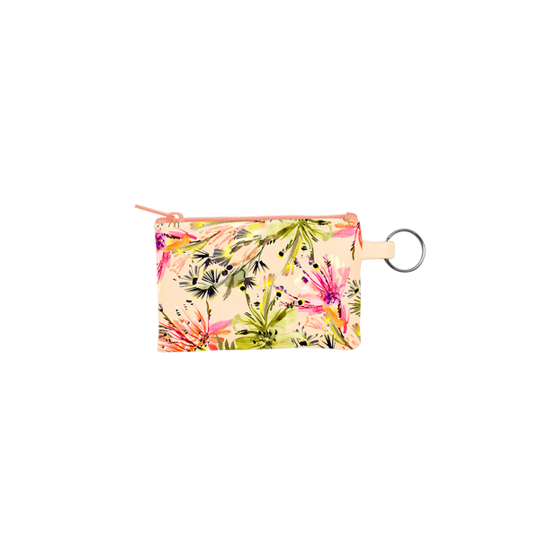 Tropical Mess Penny Key Ring is a coin purse key ring in an abstract floral pattern.
