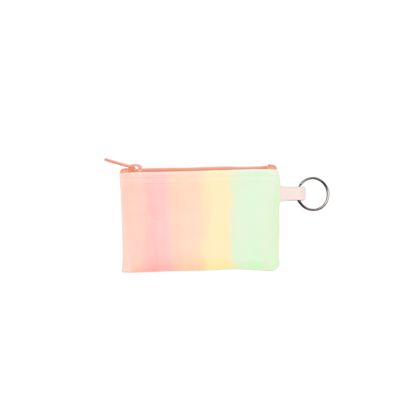 Daybreak Penny Key Ring is a coin purse key ring in a pastel rainbow gradient with a silver key ring.