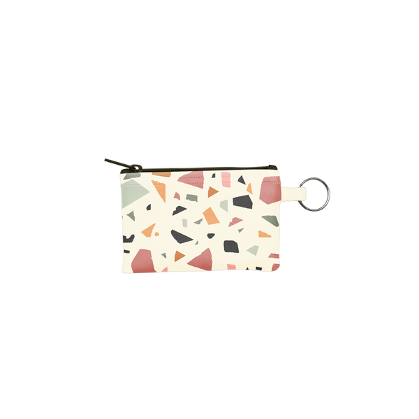 Terrazzo Penny Key Ring is a coin purse key ring in cream with terrazzo pattern.