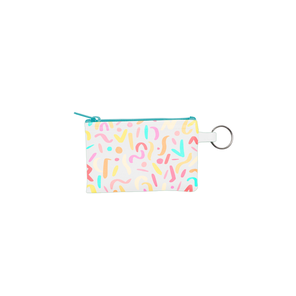 Party Animal Penny Key Ring is a coin purse key ring in rainbow confetti print and a blue zipper.