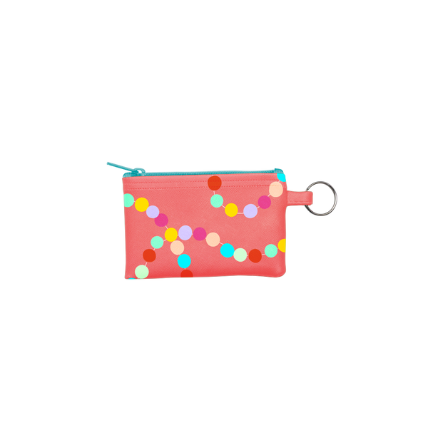 Sugar Rush Penny Key Ring is a coin purse key ring in red with rainbow polka dots pattern.
