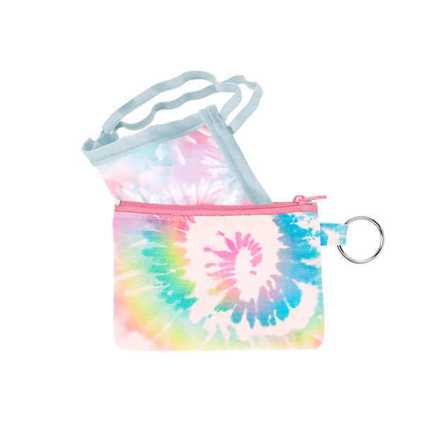 A tie dye facemask with a matching pouch.