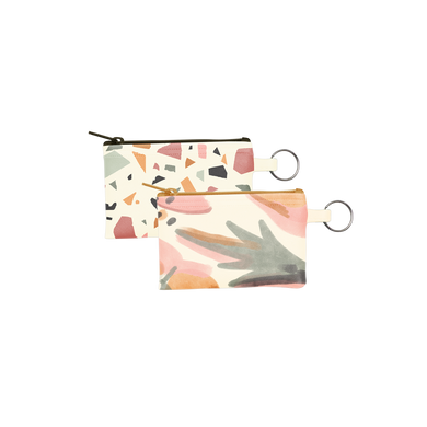 Mutey Fruity Collection Penny Key Ring is a coin purse key ring in terrazzo and mutey fruity patterns.
