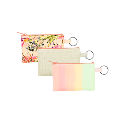 Tropics Collection Penny Key Rings are coin purse keychains in Daybreak, Natural Straw, and Tropical Mess patterns.