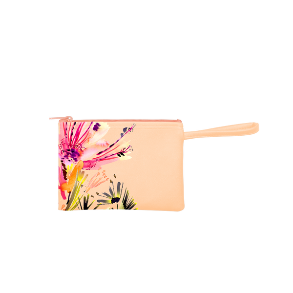 Poptart-To-Go is a small pouch wristlet in peach with a large abstract floral pattern.