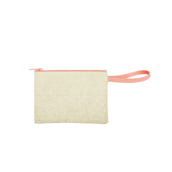 Poptart-To-Go is a small pouch wristlet in natural straw with a peach canvas strap.