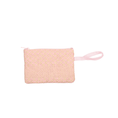 Poptart-To-Go Pink Straw is a small pouch wristlet in straw material with a pink canvas strap.