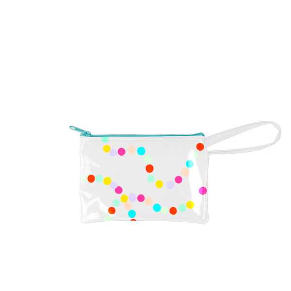Sugar Rush Poptart-To-Go is a small pouch wristlet in clear vinyl with rainbow polka dots.