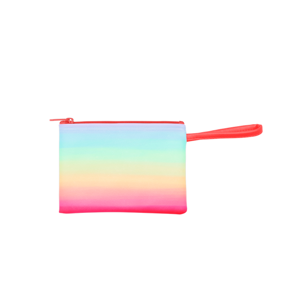 Meltdown Poptart-To-Go is a small pouch wristlet in rainbow ombre pattern and a coral strap.