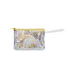 Small pouch wristlet in clear vinyl with glitter confetti, gold zipper, and vinyl strap.